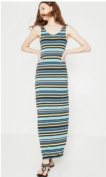 Longue robe rayée Femme